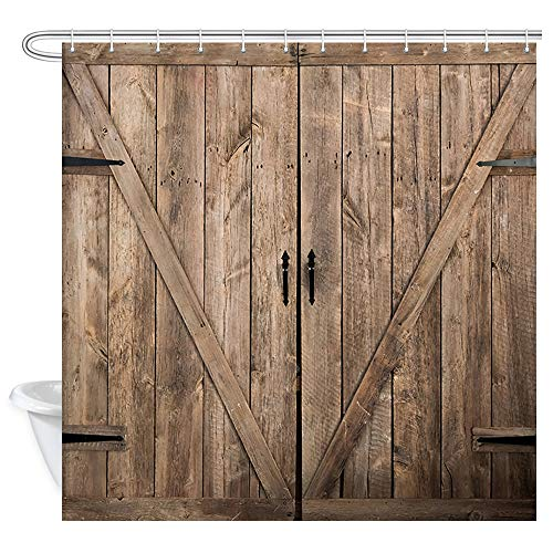 JAWO Barn Door Shower Curtains, Farmhouse Rustic Wooden Door on Ranch, Fabric Bathroom Curtain Set with Hooks, Waterproof 60x70inches
