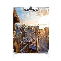 クリップボードメモ型サイズ低プロファイルクリップ 旅行の装飾 学生用かわいい画集 エキゾチックな島の海の近くの夏の空の木製オープンエアカフェライトブラウンベイビーブルー