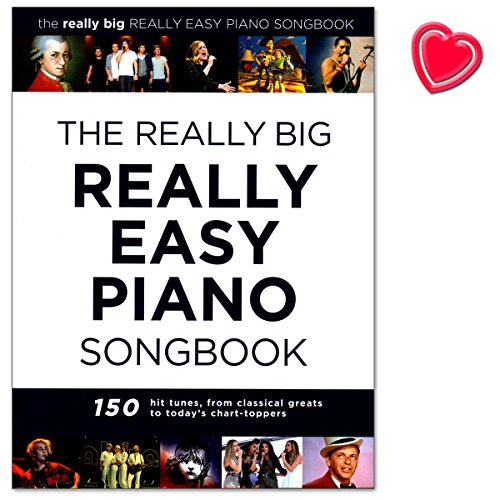 The Really Big Really Easy Piano Songbook - 150 hit tunes for really easy piano (with lyrics and chords) - Klavierpartitur mit bunter herzförmiger Notenklammer