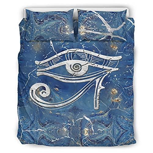 Zhenxinganghu Juego de cama de 3 piezas con ojo egipcio, resistente a las arrugas y a la luz, antimanchas, 3 piezas, para el hogar, color blanco, 229 x 229 cm