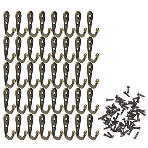 Xinlie Gancho Perchas Vintage Bronce Perchero de Pared Gancho Clave Bolsa Sombrero Colgador Rústico Ganchos Colgadores Ganchos Percheros de Aleación Vintage para Montaje,Colgar,Pared,Puerta(40 Piezas)