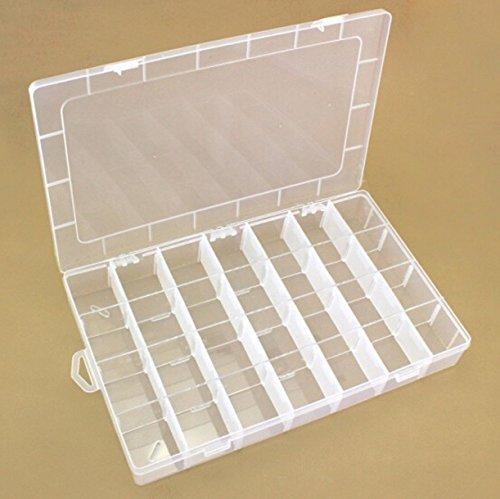 CHENGYIDA 1 unidad 28 compartimentos rectangular transparente plástico organizador caja de almacenamiento...