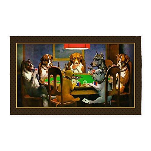 CafePress Poker Dogs Friend (Brown Border) 3'X5' Decorative Area Rug, Fabric Throw Rug