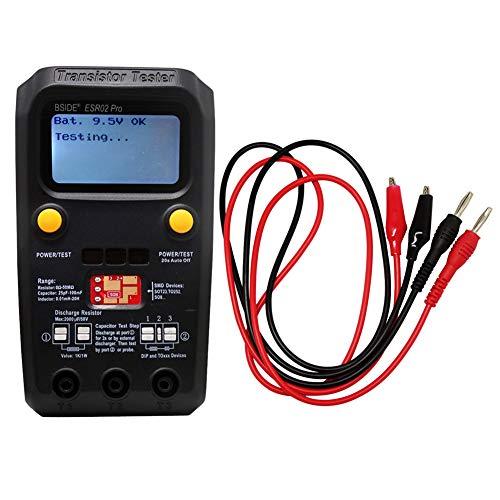 BSIDE ESR02 PRO Digital Transistor SMD Components Tester Diode Triode Capacitance Inductance Multimeter ESR Meter with test leads Black
