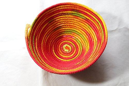 Coiled Rope Basket In Hot Mediterranean Colors, Hand Made Basket, Hand Dyed Storage Basket, Storage For Your Home,