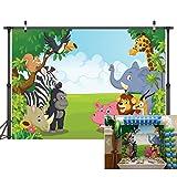 LYWYGG 7x5FT Sfondo di Zoo Fotografia Fumetto Safari Animali Sfondo Buon Compleanno Fotografia Sfondo Fauna Giungla Zoo Zoo Tema Decorazione di Festa Photo Studio Puntelli CP-4
