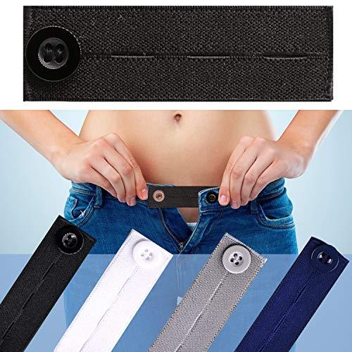 4pcs Premium Button Extender for Pants, Pants Extender for Maternity,Buttons Extender for Men Women, Waistband Extenders Jean,Waist Extenders Black,Pants Button Extender (Elastic)