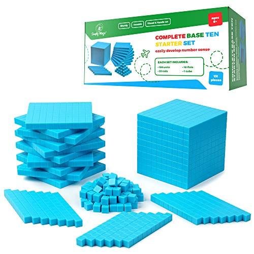 Simply Magic 131 PCS Base Ten Blocks for Math - Place Value Blocks,...