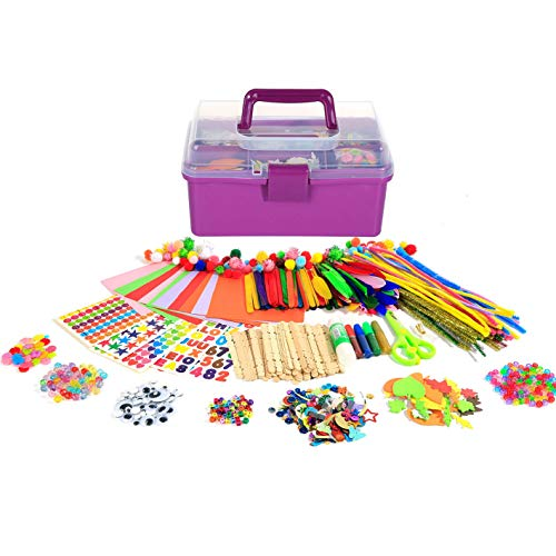 Arts Craft Supplies for Kids, 1000+ PCS Toddler DIY Craft Art Supply Set Include Pipe Cleaners, Pom Poms, Pony Beads, Googly Eyes, Storage Box, Best Gift for 5-12 Years Old Boys and Girls - Christmas