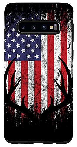 Galaxy S10 Deer Hunting American Flag Whitetail Buck Antlers Case