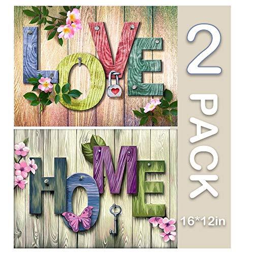 BiBeGoi DIY 5D Diamond Art Kit para Adultos, Paquete Completo de 2 Manualidades con Gemas Circulares Love Home, Juego de Rompecabezas para el hogar para decoración de Paredes, Regalo, 16
