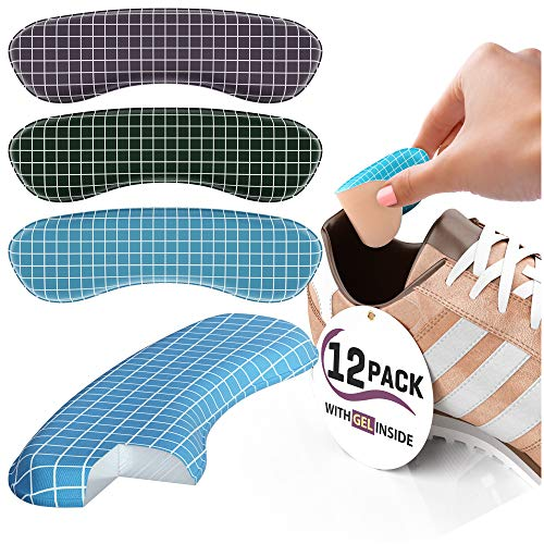Heel Pads for Trainers [Heel Grips Shoes Too Big] - Add Extra Volume, 12 Gel Insoles Heel Protectors from Slipping Out and Rubbing, Perfect Inserts for New Shoes