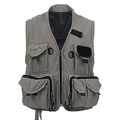 Dr.Fish Fly Fishing Mesh Vest Waistcoat Mutil-Pocket Quick Dry Canoe Kayak L/XL/XXL by Dr.Fish