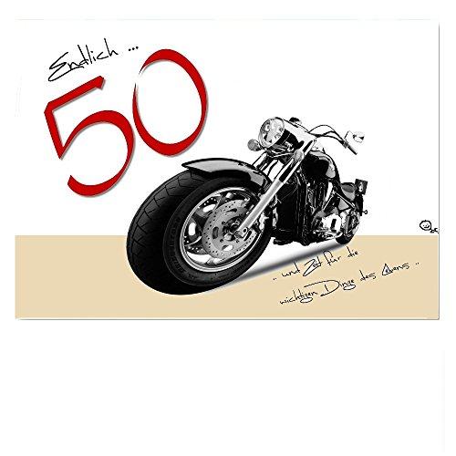 DigitalOase Glückwunschkarte 50. Geburtstag Jubiläumskarte 50. Jubiläum Geburtstagskarte Grußkarte Format DIN A4 A3 Klappkarte PanoramaUmschlag #HARLEY