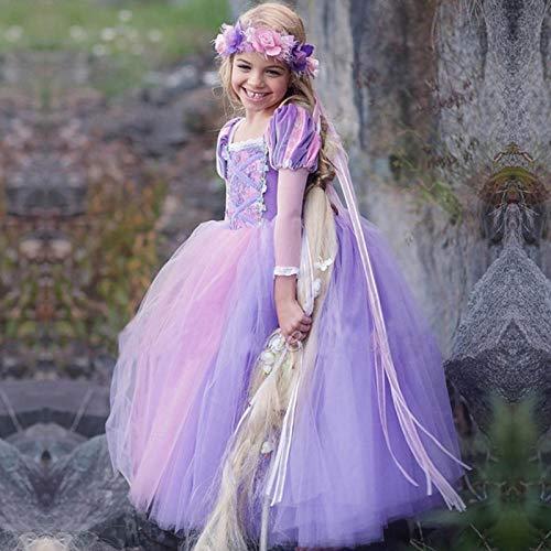 N/F Niños Niñas Princesa Rapunzel Vestidos Vestido de Fiesta Vestido de Fiesta Ropa para niños Disfraz de Mascarada para niños Vestido de Cosplay