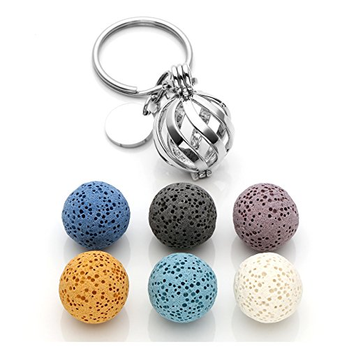 CrystalTears Diffuser for Essential Oil Keychain 6pcs Lava Stone Beads with Hollow Twisted Circle Locket Pendant Keychain ~ Best Friend Family Keyring