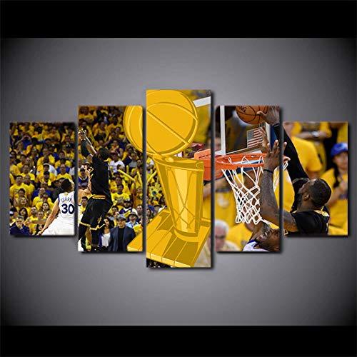 ELSFK Cuadro En Lienzo Juego de Baloncesto Impresión De 5 Piezas Material Tejido No Tejido Impresión Artística Imagen Gráfica Decor Pared 100x55cm