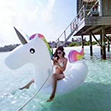WANG PVC Inflatable Unicorn Floating Row Mount Adult Water Rainbow Horse Inflatable Floating Bed,275...