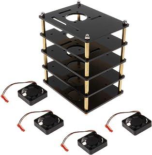 gazechimp Estojo Estojo de Acrílico com 4 Camadas com Ventilador Do Dissipador de Calor para Raspberry Pi 2b