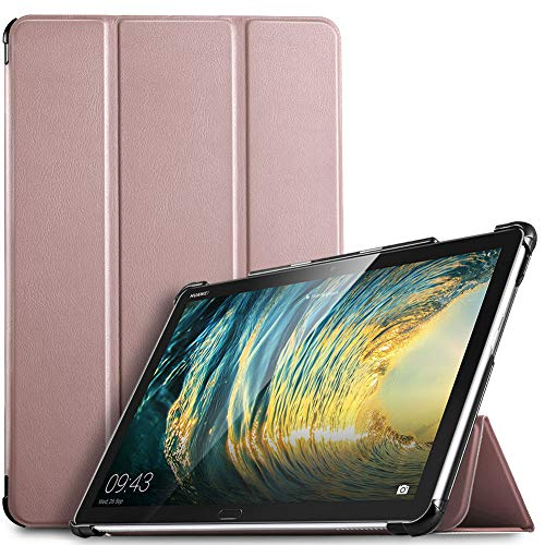 IVSO Hülle für Huawei MediaPad M5 Lite 10, Ultra Schlank Slim Schutzhülle Hochwertiges PU mit Standfunktion Ideal Geeignet für Huawei MediaPad M5 Lite 10 10.1 Zoll 2018 Modell, Rosegold