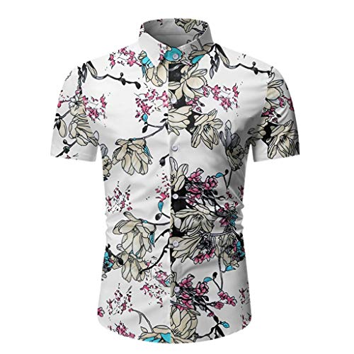Heren Core Stretch Slim Cneck Tee T-Shirt T-shirt met korte mouwen Top Blouse Casual Hawaiian Fancy Bloemen Gedrukte Tops Zomer Gym Kleding Sweatshirt Button Pullover Beach Holiday
