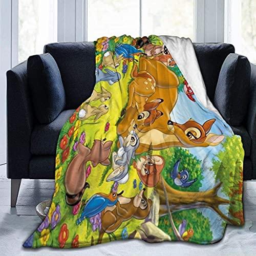 Bambi Manta de gran tamaño cálida para adultos y niños súper suave con franela suave anti-pelusa para adultos y niños impresión 3D