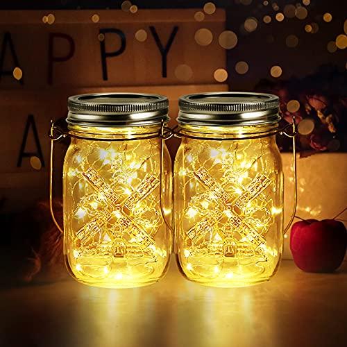 2 Stück Solarlampen für Außen | 40er LED Solar Licht mit Windmühlenmuster | infinitoo Solarglas Lichterkette Leuchten Wasserdichte Garten Solarlaterne Hängeleuchten Gartendeko für Party, Hochzeit