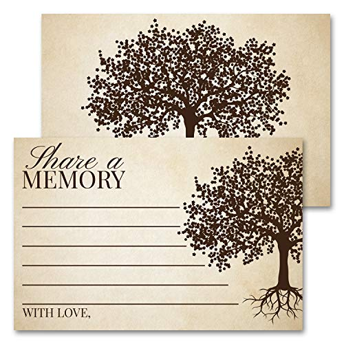 Deluxe Share A Memory Card Celebration of Life, Funeral Memorial Rememberance Service, Condolence Book, Retirement, Tree of Life Guestbook Alternative Pack of 40 4 x 6 Cards