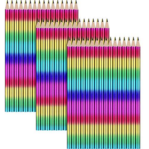 Outus 50 Stück Regenbogen stifte 4 in 1 Zeichnung Buntstift Holzstifte zum Kunst Zeichnen, Färben und Skizzieren