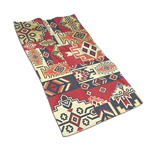 QHMY Native American Style Fabric Patchwork Microfiber Serviettes 27.5 X 15.7 in Bath Bathroom, Beach Travel Towel for Pool Bath Spa Fitness Swim Camping Outdoors Home Etc for Daily Needs