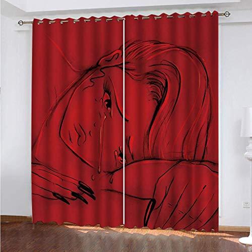 LLPZ Cortinas Opacas E Insonorizadas, Cortinas Rojas Impresas con Personajes Femeninos Abstractos, Cortinas De Dormitorio Y Sala De Estar 2×W75×L166cm