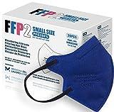 20 FFP2/KN95 Maske Blau CE Zertifiziert Kleine Größe Small, Medizinische Mask mit 4 Lagige Masken ohne Ventil, Staub- und Partikelschutzmaske, Atemschutzmaske mit Hoher BFE-Filtereffizienz≥95|20 Stück