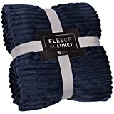 GREEN ORANGE Throw Blanket for Couch - 50x60, Lightweight, Navy Blue - Soft, Plush, Fluffy, Warm, Cozy - Perfect for Bed, Sofa