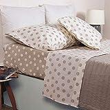 HomeLife Bettwäsche-Set, 100% Baumwolle, Bettlaken + Spannbetttuch mit Ecken + Kissenbezug mit Knöpfen für Doppelbett/Einzelbett/Einzelbett/Fantasia Pois Beige/Taupe 1 Piazza - [1Piazza]...