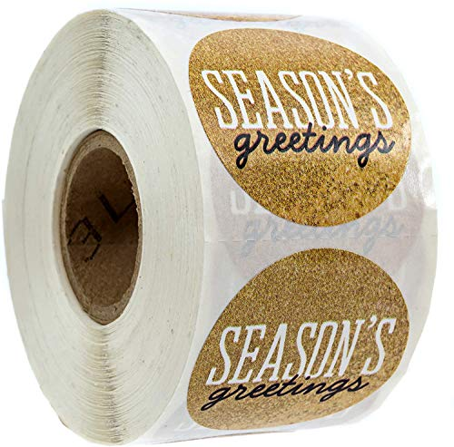 Black & Gold Season's Greetings Christmas Stickers/500 Christmas Tags/Season's Greetings Faux Glitter Sticker