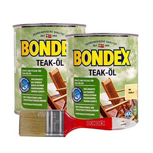 Bondex Teak-Öl farblos, 1,5 Liter inkl. Pinsel - Schutz- und Pflegeöl für Aussen, Gartenmöbel und Terrassenöl