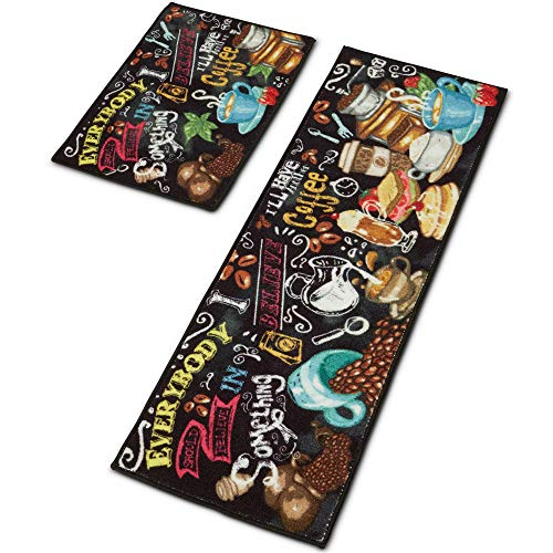 Kitchen Mats Set of 2 Piece(23.6x15.75x0.3+47.25x15.75x0.3) - Non-Slip Latex Backing - Unique Design - Energetic & Bright - Long Lasting - These are NOT Anti Fatigue - 0.3 Thin
