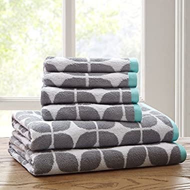 Lita Cotton Bathroom Towels , Jacquard Highly Absorbent Bath Towel Set , 6-Piece Include 2 Bath Towels & 4 Hand Towels , Dark Grey