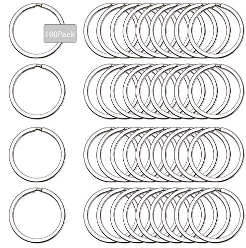 Anillo de Llavero Redondo 25mm,anillas de llavero de acero inoxidable,anillos partidos de metal,anillas llaveros para Organización de Llaves(B)