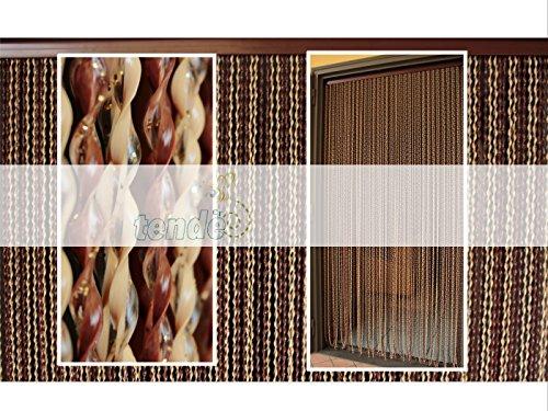 Cortina de puerta - Mosquitera ventana - Modelo 21 - Medidas PERSONALIZABLE y estándar 90X200-95X200-100X220-120X230-130X240-150X250 - Fácil de limpiar - Para más información, visite 'Cirillo Tende' (150X250, MARFIL y marrón oro brillo (4-5))