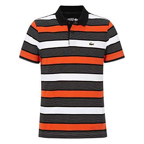 Lacoste Herren YH4880 Polo Shirt Kurzarm, Männer Polo-Hemd,2 Knopf, Regular Fit,Black/White-Gladiolus-CALLUNA(SG5),X-Large (6)