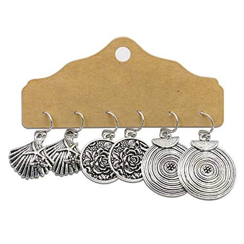 Ruby569y Pendientes colgantes para mujeres y niñas, 3 pares de pendientes estilo retro con diseño de borla de aleación para mujer y moda para regalos – 5