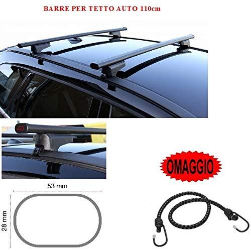 Compatible con Volkswagen Polo 3P 1988 Barras para techo de coche de 110 cm, barra portaequipajes para raíles altos y bajos de acero + regalo