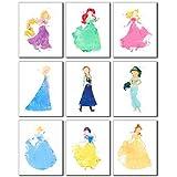 Princess Watercolor Prints - Set of 9 (8 inches x 10...