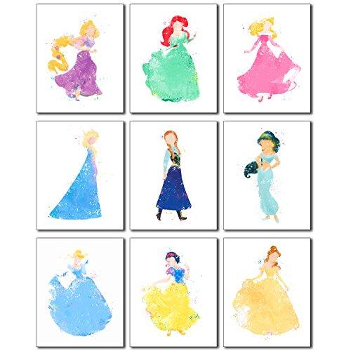 Princess Watercolor Prints - Set of 9 (8 inches x 10 inches) Photos - Rapunzel Ariel Aurora Elsa Anna Jasmine Cinderella Snow White Belle