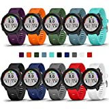 COLAPOO 10PACK Multicolor Bands Compatible with Garmin Forerunner 245/645,20mm Soft Silicone Wristbands for Garmin 245 Music/645 Music/Venu/Venu Sq/Vivoactive 3(10 PACK)