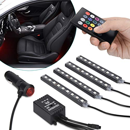 Navaris Auto LED Innenraum Beleuchtung - 4 LED Farbwechsel Streifen mit Fernbedienung - 12V RGB Innenraumbeleuchtung PKW - über Zigarettenanzünder