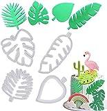 Mity rain Tropical Leaf Cookie Cutter - Hawaiian Palm Leaves Fondant Cutters Set for Gum Paste, Sugarcraft Candy, Luau Cake Decorating (4Pcs)