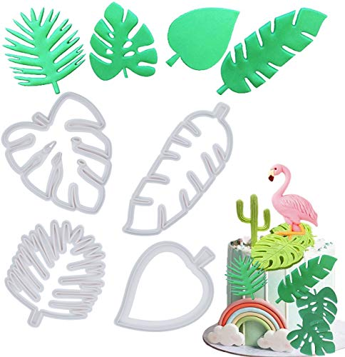 Mity rain Tropical Leaf Cookie Cutter - Hawaiian Palm Leaves Fondant Cutters Set for Gum Paste, Sugarcraft Candy, Luau Cake Decorating (4Pcs)