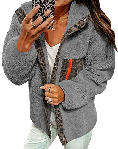 ECOWISH Women Fleece Leopard Coat Long Sleeve Button Down Jackets Winter Lapel Outerwear Grey Small